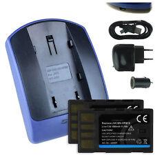 2 Batteries + Chargeur USB BN-VF815 pour JVC GZ-HM400, MG130, MG131, MG133