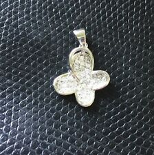 925 Sterling Silver CZ Polished Butterfly with bail Pendant 23mm long