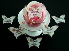 15 PERSONALISED VINTAGE FLORAL BUTTERFLIES EDIBLE CAKE RICE WAFER PAPER TOPPERS