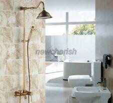 Wall Mount Antique Brass Bathroom Tub Rain Shower Faucet Set Mixer Taps nrs221