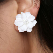 8f7f1fa30 UK Fashion Inlay Beads Big White Flower Camellia Simulated Pearl Stud  Earrings