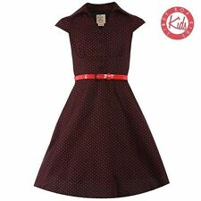 LindyBop Childrens Mini Rebecca Black Red Polka Dot Party Swing Shirt Dress 3-4