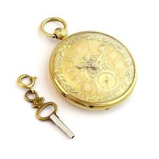 18k Yellow Gold Half Hunter Floral Key Wind Pocket Watch w/Key Tri Color Dial