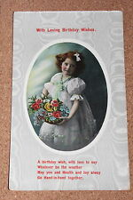 Vintage Postcard:Birthday Greeting, Portrait of a Girl holding Basket of Flowers