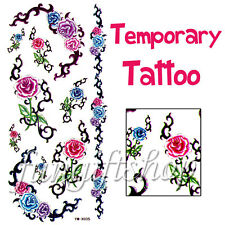 Temporary body skin glass Tattoo sticker Removable Colorful Rose Flower F1 X035