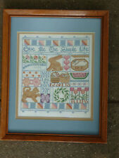 New listing Framed Original Needlework Sampler Give Me The Simple Life - country quilt look
