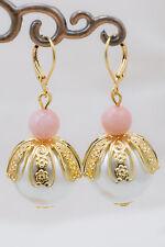 Orecchini Perle 18 mm Opale Rosa Naturale Placcati Oro Gioielli Pietre Naturali