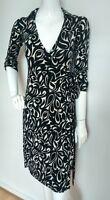 Designer LK BENNETT silk wrap dress size 6 knee length 3/4sleeve black/Ivory