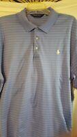 Ralph Lauren Polo Golf Shirt XL Pima Cotton Blue white pinstripes