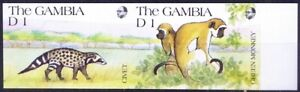 Gambia 1991 MNH Imperf, African Civet, Green Monkey, Wild animals