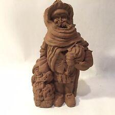 "Vtg Folk Art Sculpture Santa w Doll Boy Basket Resin Figurine 7.5"" Xmas Signed"