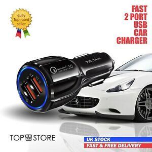 FAST CAR CHARGER 2-USB Port For Iphone Samsung Huawei Universal Socket Adapter