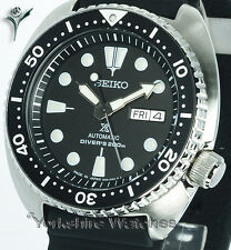 New SEIKO PROSPEX TURTLE DIVER BLACK FACE WITH SILICONE RUBBER STRAP SRP777J1
