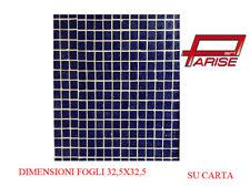 Mosaico pasta di vetro su carta rivestimento ceramica blu scuro 1,05mq 10 pz.
