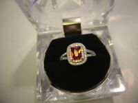 "INCREDIBLE SOLID SILVER RING GARNET & DIAMOND ""CUBICS"" STONES STUNNING-SIZE L"