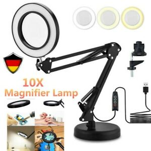 10X Dioptrien LED Lupenleuchte Arbeitsleuchte Tischklemme Lupenlampe Linse Lupe