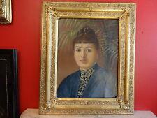 PORTRAIT DAME EN BLEU, HUILE SUR BOIS 57 x 67 cm ENCADRE