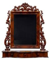 19TH CENTURY CARVED MAHOGANY FREESTANDING DRESSING TABLE MIRROR