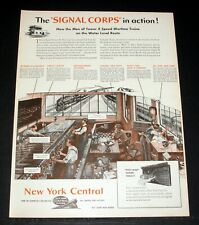 1944 OLD MAGAZINE PRINT AD, NEW YORK CENTRAL RAILROAD, SIGNAL CORPS IN ACTION!
