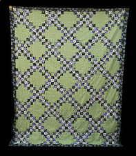 "Double Irish Chain Quilt Top 74"" x 94"" RJR Lovely Machine Sewn ~ Already Pieced"