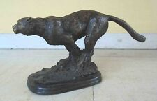 Leaping Leopard - contemporary large bronze statue - not signed - est. 1950's