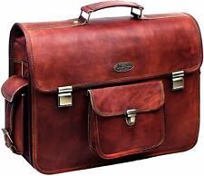 """Men Leather Briefcase 18"""" Laptop Briefcase Shoulder Bag Genuine Leather Bag"""