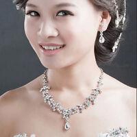 Bridal Wedding Party Jewelry Set Crystal Rhinestone Necklace & Earrings&Tiara ES