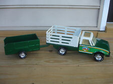 Old Vtg Pressed Steel NYLINT Farms Stables Truck with Trailer LUV Diesel Toy
