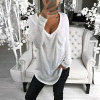 Spring Women Pullover T-shirt Long Sleeve V-neck Slim Fit Tops S M L XL 2XL 3XL
