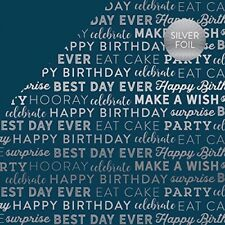 Echo Park: 12x12 Celebrate:  Navy with Silver 2pc Scrapbook Paper