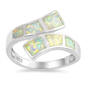 White Australian Fire Opal Sterling Silver Swirl Band Ring