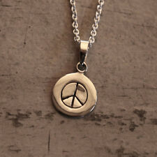 "Peace Symbol Necklace Fine Sterling Silver New Jewelry Shipping 18"" Chain"