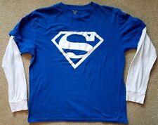 SUPERMAN Logo Symbol Faux Layered T-Shirt White Graphic Print Sz Medium