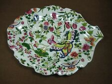 """""""Thousand Butterflies"""" by Eda Mann Ceramic Leaf-shaped Candy or Trinket Dish"""