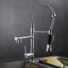 Modern Chrome Brass Kitchen Sink Pull Out Spray Faucet Mixer Tap with 2 Hoses UK