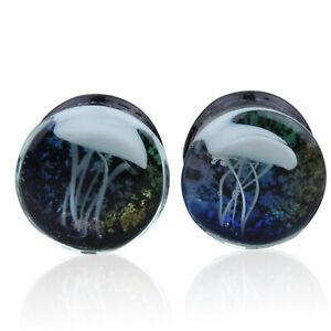 Jellyfish Design Glass Flesh Piercing Tunnel Ear Stretcher Plug Ear Expander