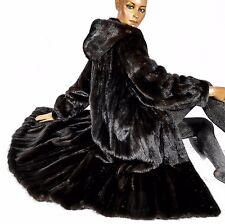 L XL Rare black brown Hooded mink fur coat Blackglama Soft Real fur Parka hood