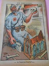 Humour Espagne l'ouverture Un crâne dans la Main dessin Print 1936