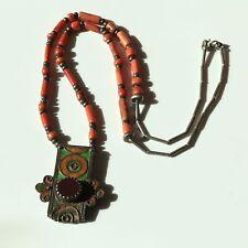 Antique Moroccan Coral/Silver Bead  Enamel Silver Pendant Necklace