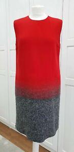 Victoria Beckham Red Grey Wool Sleeveless Shift Dress UK 12 IT 44