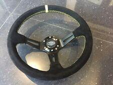 Deep Dish 350mm Universal Steering Wheel Black Suede Yellow Stitching OMP MOMO