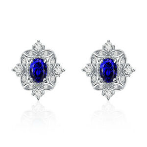 Unique Zircon Jewelry Blue Aaa Cz Earring Stud Silver Plated Girls Birthday Gift