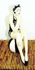 Bathing Beauty Figurine in Black and White Floral Suit on Stripe Ball Large