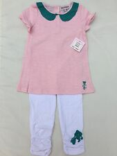 NWT Juicy Couture Pink Tunic With Green Collar And Leggings  Set Size 18/24 M