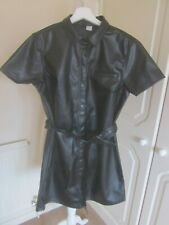 BNWT 2020 DIVIDED H&M BLACK IMITATION LEATHER SHIRT DRESS SIZE M £24.99