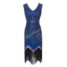 1920's Gatsby Party Gowns Sequin Fringe Flapper Dress Costume V-Neck Sleeveless