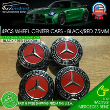 4 Mercedes-Benz Wheel Center Caps Black Red Emblem 75MM AMG Laurel Wreath Hub