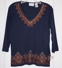 NWT Alfred Dunner Women's Ladies El Dorado Beaded Sequin Accented Shirt - PS