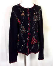 vtg Basic Editions Holiday Ugly Christmas Sweater Heavily Beaded X-Mas Party L