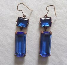 YSL Yves St Laurent Signed Haute Couture Runway Sapphire Chandelier Earrings